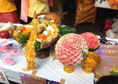果物の彫刻フルーツカービングの展示