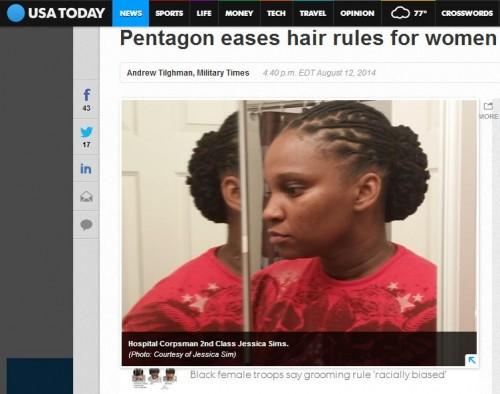 米軍女性兵士が自然な髪型を選択可能に