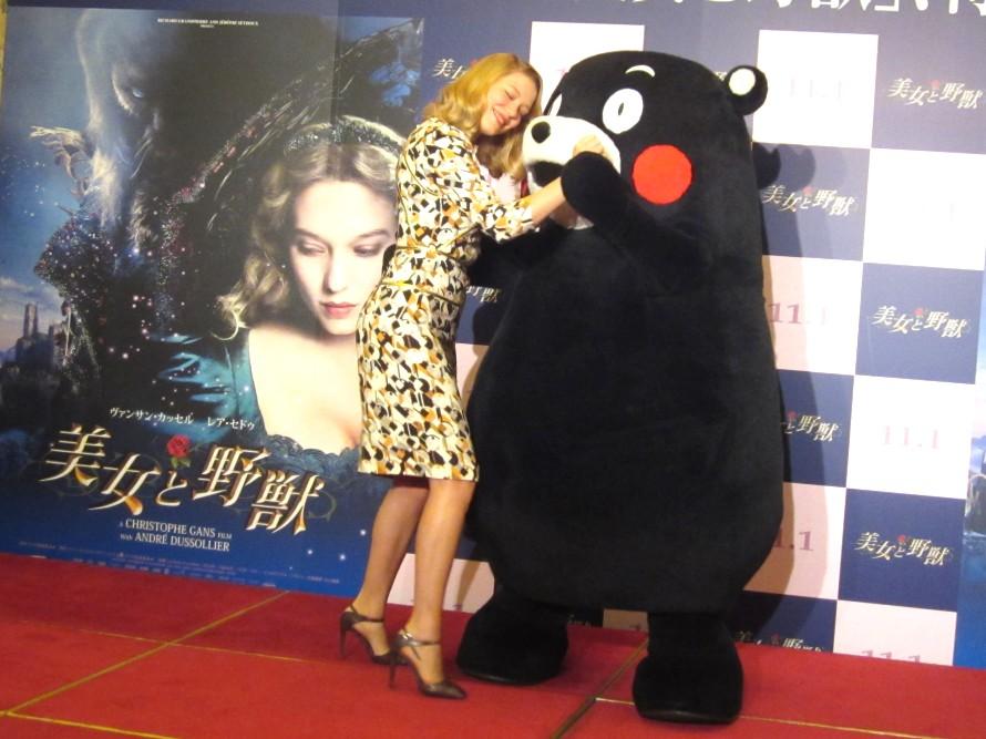 """男はやっぱり顔じゃない! 『美女と野獣』の女優レア・セドゥが""""野獣""""くまモンを「カッコいい」と絶賛"""