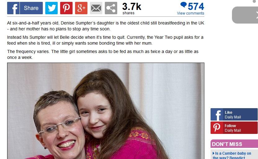 6歳の娘に母乳を与える母親に賛否両論 授乳は何歳までが正しいのか?