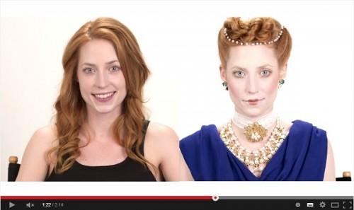 現代女性が伝統のメイクに変身する動画
