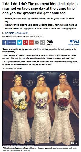 三つ子の姉妹の同時結婚式が話題