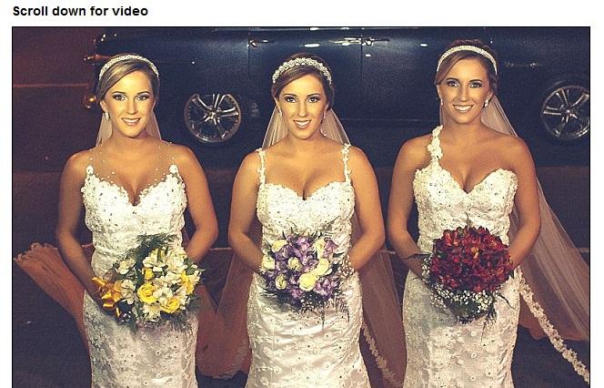 三つ子の姉妹が同時に結婚式を挙げて話題 同じヘアスタイルとドレスで新郎3人は混乱?