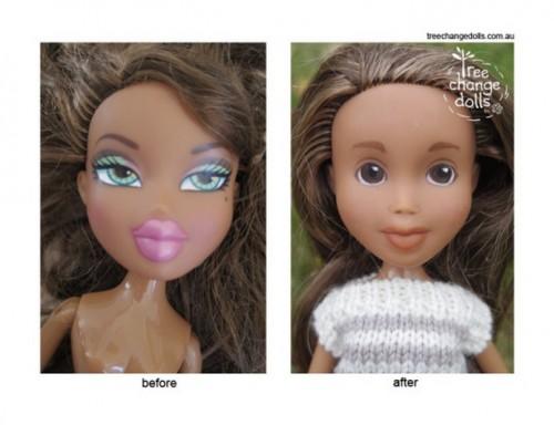 自然な顔に直した人形がかわいいと話題