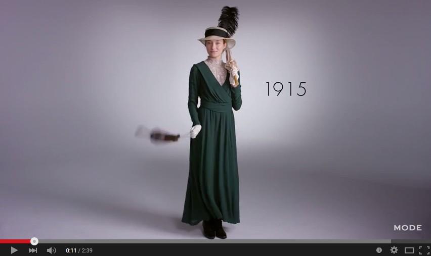 100年間で女性のファッションはどう変わったか 2分半で変遷が