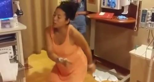 陣痛をダンスで紛らわせる妊婦の動画