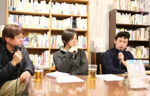 左から、中森明夫氏、長谷川晶一氏、松谷創一郎氏