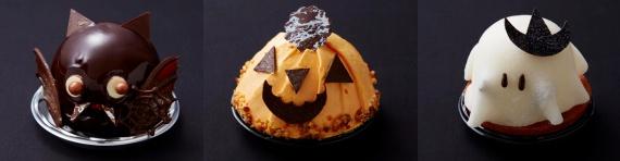 (左から)こうもりのチョコムース、カボチャのモンブラン、お化けのチーズケーキ