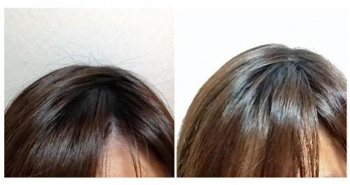 「老け毛」が飛び出している状態(左)と抑えた状態(右)