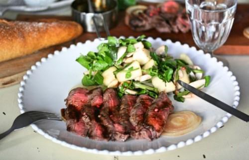ちょい贅沢、でもカンタン!「ステーキのバルサミコソースと洋梨のサラダ」【金曜日の夜ごはん】