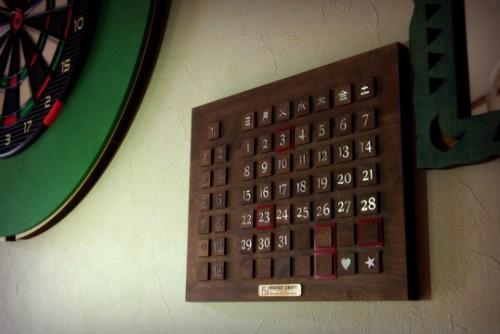 オリジナル木製インテリア万年カレンダーA(数字はステンレス製)