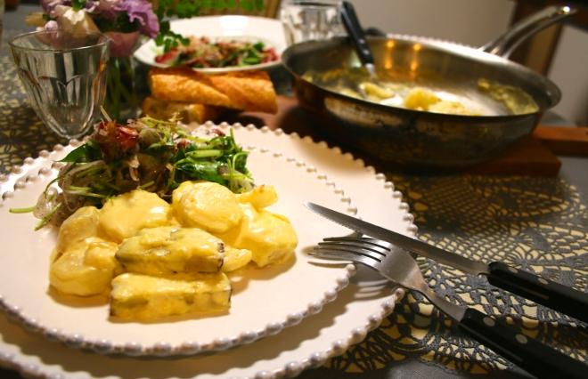 「長芋とさつまいものグラタン」と「新タマネギとタコのサラダ」【金曜日の夜ごはん】