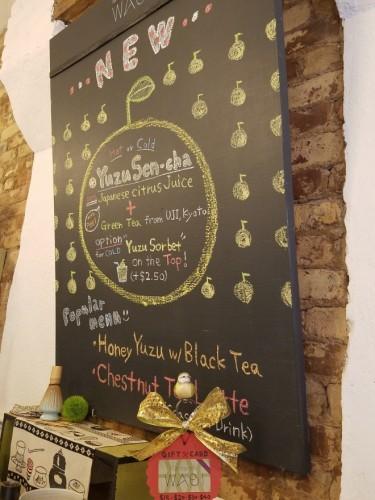 店内には柚子を使用したメニューも。抹茶を使ったスイーツも各種置かれていました。