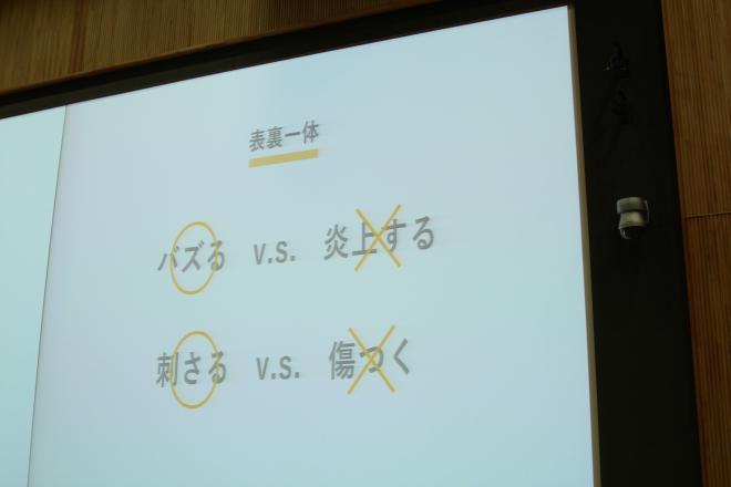 会場で表示されたスライド。