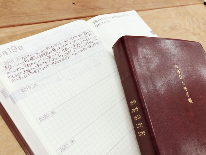 私の日記(左)と夫の日記(右)。毎日平均150文字。意外とすぐ埋まる。