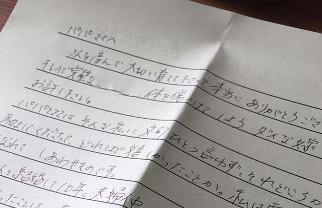 適当な紙がなく、病院からもらった書類の裏にしたためた手紙