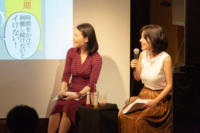 喜田先生(左)とAM編集長・金井さん(右)