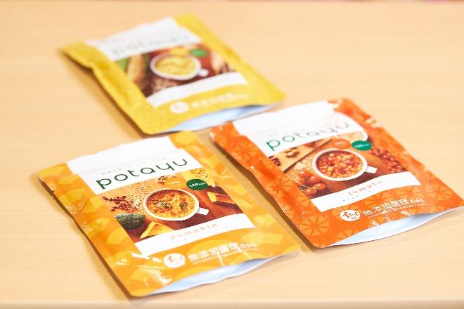 防災ガールが開発に関わった無添加のレトルト玄米粥'potayu'。普段食べているものでないと、緊急時には食べられないという声を反映させた。