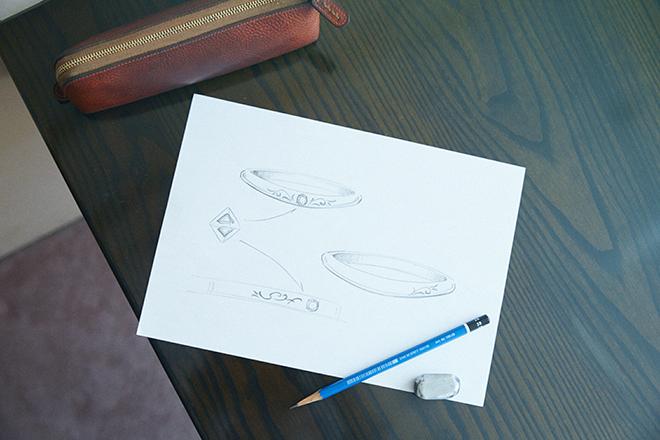 西田さんのデザイン画といつも使っているという鉛筆と消しゴム。スピーディな提案ができるように芯の硬さ、使い心地などにもこだわっているそう。