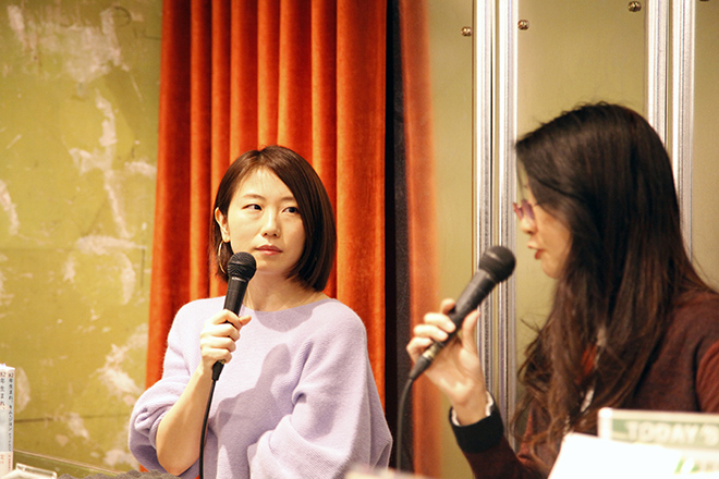 登壇した(左から)倉本さおりさんと斎藤真理子さん