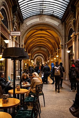 ウィーン市内の美しいパッサージュ。老舗カフェも多く、天候に左右されず散歩を楽しめる
