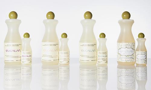 ランジェリー用洗剤として人気の「ユーカラン」(左から/ラベンダー、グレープフルーツ、ユーカリ、ジャスミン))各¥2,000(500ml)・¥500(100ml)/栄進物産