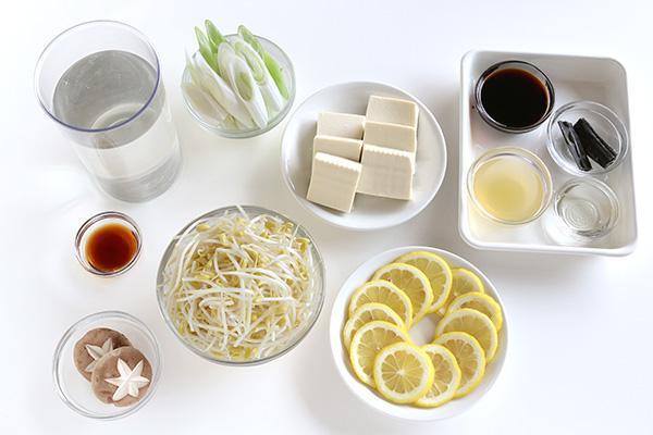 材料もやしレモン湯豆腐 (1)