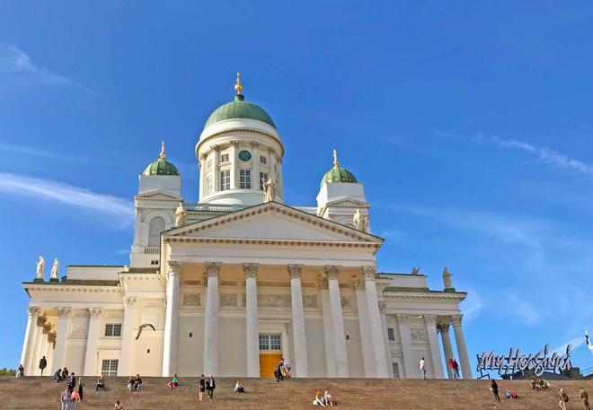 旅のスタートはフィンランドから。写真はランドマークのヘルシンキ大聖堂/堂原さん提供