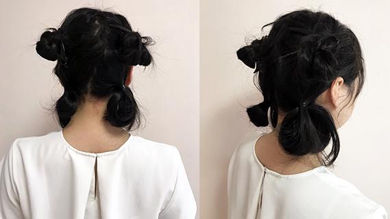 最初に1つに束ねていた髪をほどき、2つに分けてヘアクリップでとめます。