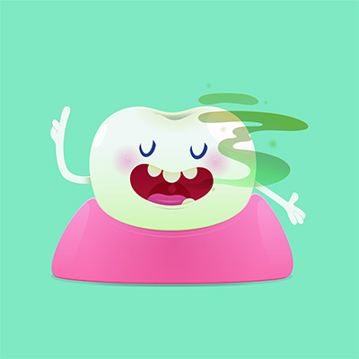 Halitosis concept of cartoon tooth with bad breath on the green