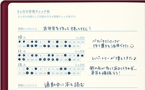「3ヵ月の習慣チェック」ページの一部