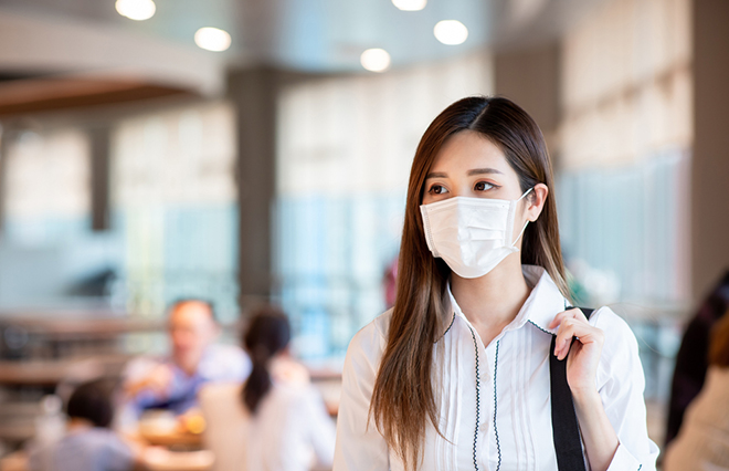 Asian,Woman,With,Surgical,Mask,Face,Protection,Walking,In,Crowds