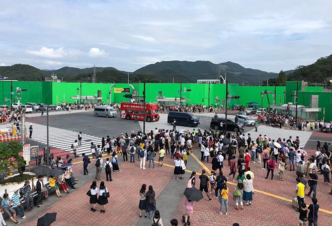 栃木県足利市に建設された渋谷スクランブル交差点のセット