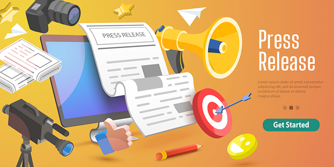 3d,Conceptual,Illustration,Of,Internet,Press,Release,,News,Service,,Digital