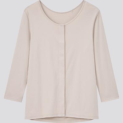 コットン 前あき UネックTシャツ(8分袖)1,990円