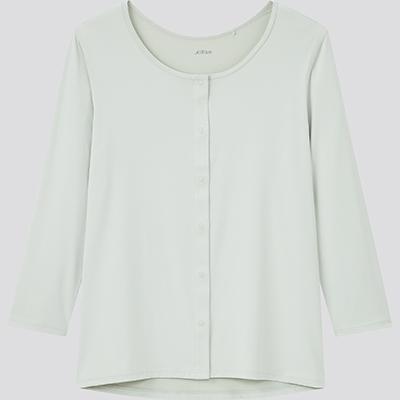 エアリズム 前あき UネックTシャツ(8分袖)1,990円
