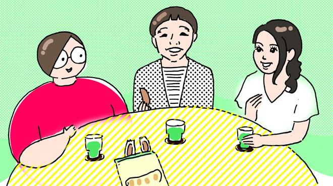 (左から)田房さん、清田さん、小川さん/イラスト:田房永子