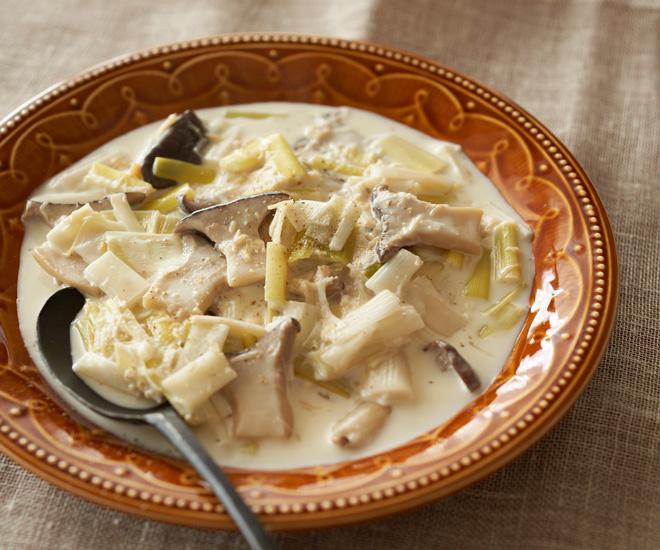 「長ねぎとほたてのクリーム煮」第4章、パパッと作れる野菜のシンプルおかずより