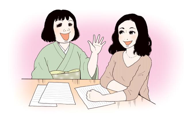 (左から)安彦さんと田中さん/イラスト:安彦麻理絵